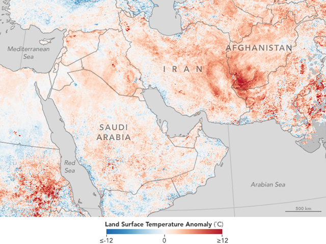 On 21 July 2016, as an intense heat wave gripped the Middle East and Southwest Asia, a weather station in Mitrabah, Kuwait, recorded a temperature of 54.0 degrees Celsius (129.2 degrees Fahrenheit)—possibly the highest temperature on record for the Eastern Hemisphere and Asia. Before declaring the record officially broken, a committee of World Meteorological Organization experts will investigate whether the sensor used to make the measurement is reliable. Graphic: Jesse Allen / NASA Earth Observatory