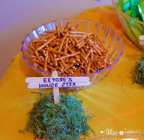 Winnie the Pooh Birthday Party Food Ideas: Eeyore's Howse Sticks