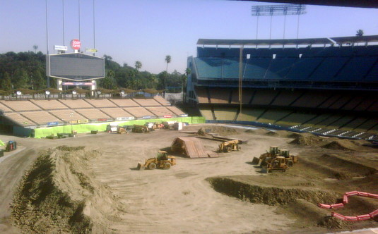Dodger Stadium Prepares For Motorcycles And Mud The Eastsider La