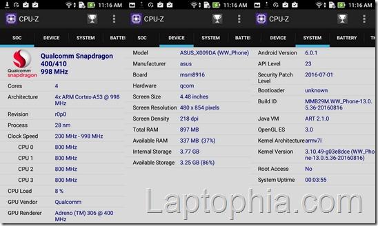 Benchmark Asus Zenfone Go ZB450KL