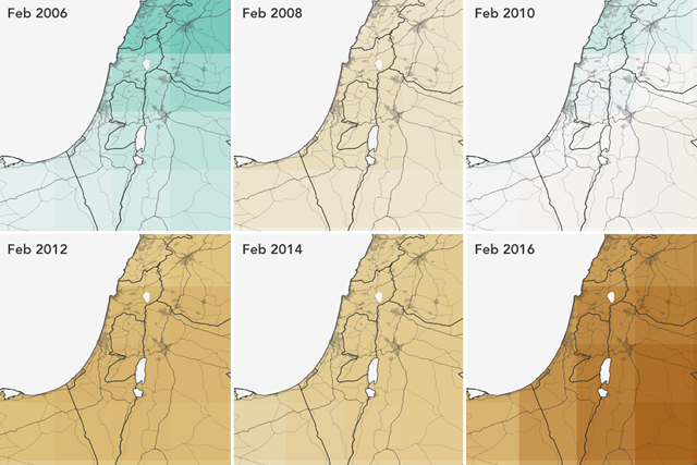 Groundwater availability in the Middle East, 2006-2016, as observed by the Gravity Recovery and Climate Experiment (GRACE). Since 2006, the Middle East has experienced a net decrease in groundwater. Data courtesy of Vishal Arya and the NASA DEVELOP Program. Graphic: Joshua Stevens / NASA Earth Observatory