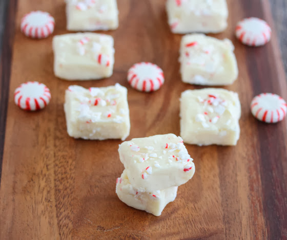 close-up photo of pieces of Peppermint Fudge