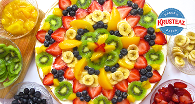 Krusteaz recipe, use the Butter Vanilla Sugar Cookie for a Sugar Cookie Fruit Pizza