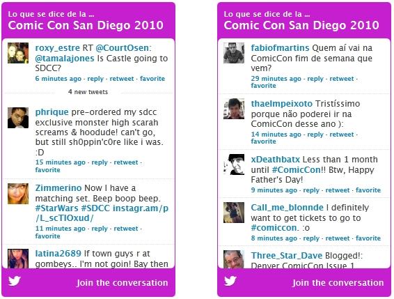 Captura de twitter Comic Con 2010