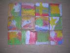 """""""Vedo un pesce nell'acqua"""", piastrelle dipinte, Scuola dell'infanzia di Ficulle2009.(ringraziamo , per le piastrelle, la fornace Fedeli di castel Viscardo)"""