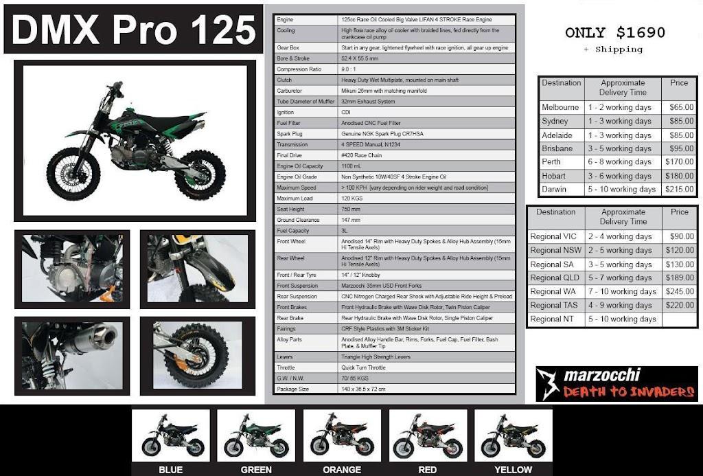 125cc dmx pro pit bike specs