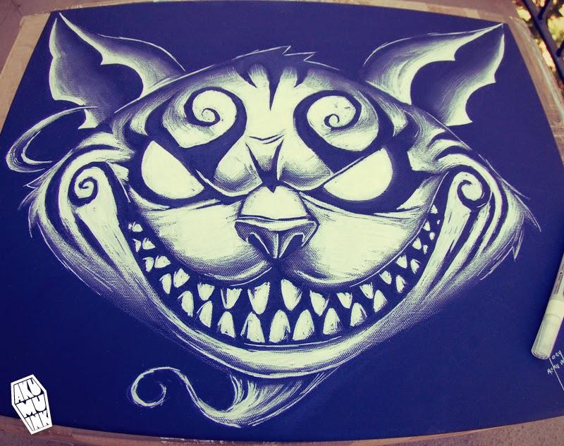 cheshire cat sketch, cheshire cat art, akumuink art, nightmare artist, cheshire cat painting, american mcgee alice art, american mcgee fanart, goth cat art, goth painting, goth painter, goth artist, japanese goth art, american mcgee cheshire cat, japanese horror artist