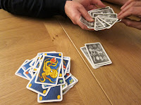 Some of the cards during a game of Kleine Fische