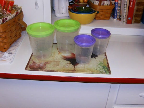 Ball Freezer Jar, for Freezer Jam. Lime Green is 16oz, Purple is 8oz.