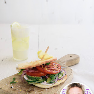 Veggie Flatbread Sandwich with Feta-Yogurt Spread Recipe