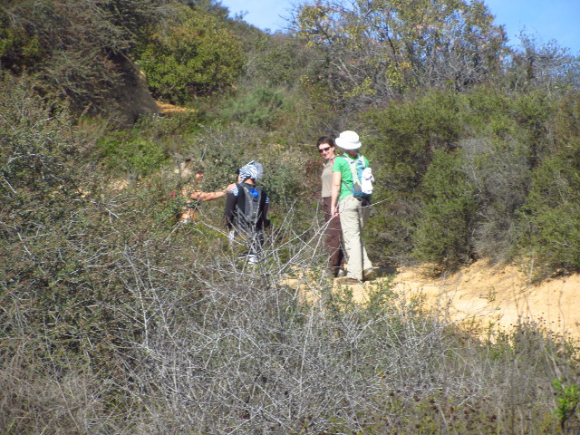 female geeks making their way up the trail