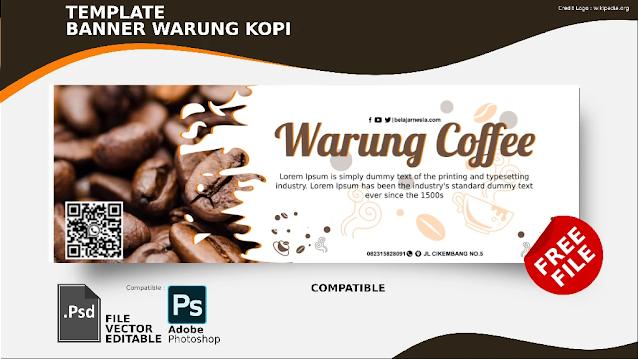 Download Spanduk Warung Kopi PSD