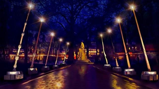 Londres ganha corredor com varinhas de luz gigantes para celebrar os 20 anos de Harry Potter