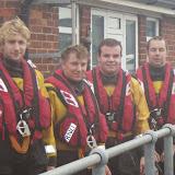 The 100th shout volunteer crew members: Ed Davies, Joe Manning, Will Collins & Mark Ponchaud - 17 October 2014. Photo credit: Poole/RNLI