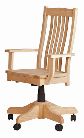 Raised Mission Office Swivel Chair with Casters, in Natural Maple