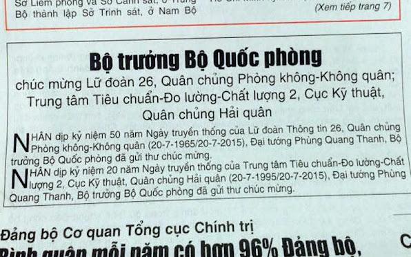 Phung Quang Thanh Bo truong Quoc Phong Vo Van Tuan