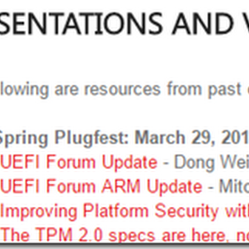UEFI Spring 2016 Plugfest Materials Now Available