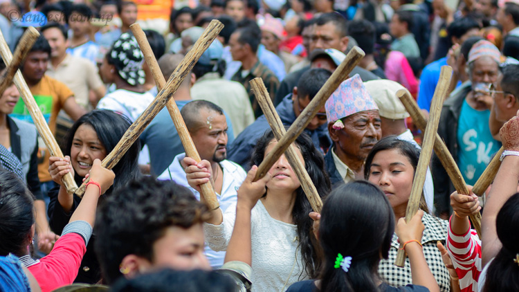 Stick dance during Gai Jatra in Bhaktapur