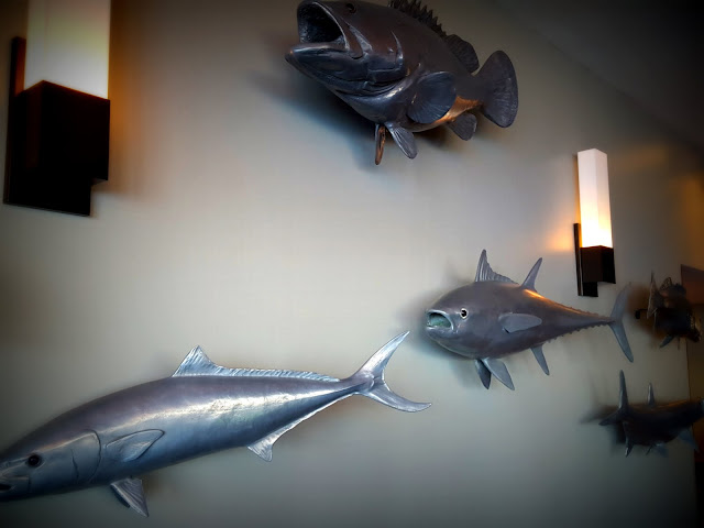A wall of fish! Where to Stay - and Eat - in Miramichi, New Brunswick: the Rodd Hotel and Resort, and their fantastic 1809 Restaurant