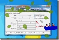 DesktopSnowOK برنامج مجانى لإضافة تأثير تساقط الثلوج لسطح مكتب الكمبيوتر إصدار  4