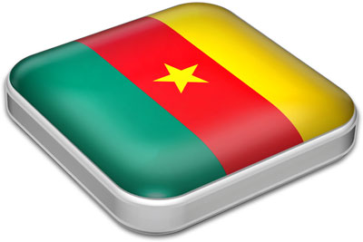 Flag of Cameroon with metallic square frame