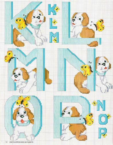 Alfabeti e monogrammi per bambini a punto croce con cagnolini