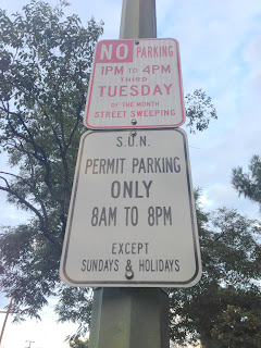 Most SUN Neighbors Will See A Sign On Their Street Like The One Pictured To Right Park Between 8AM And 8PM All Days Except Sundays