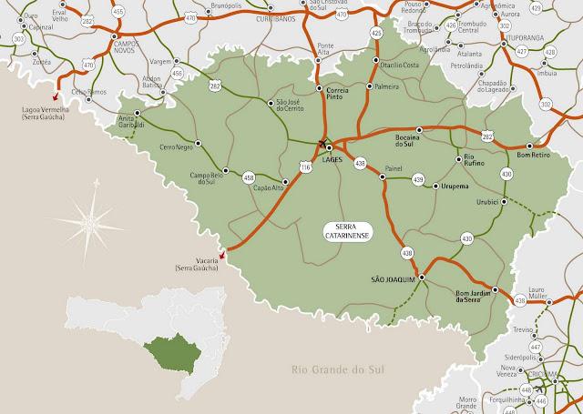 Mapa da região da Serra - Santa Catarina