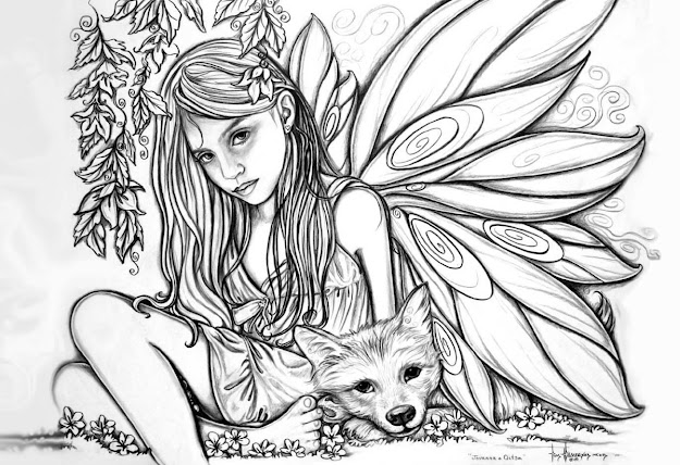 Free Printable Girls And Fox Pictures To Color For Adults