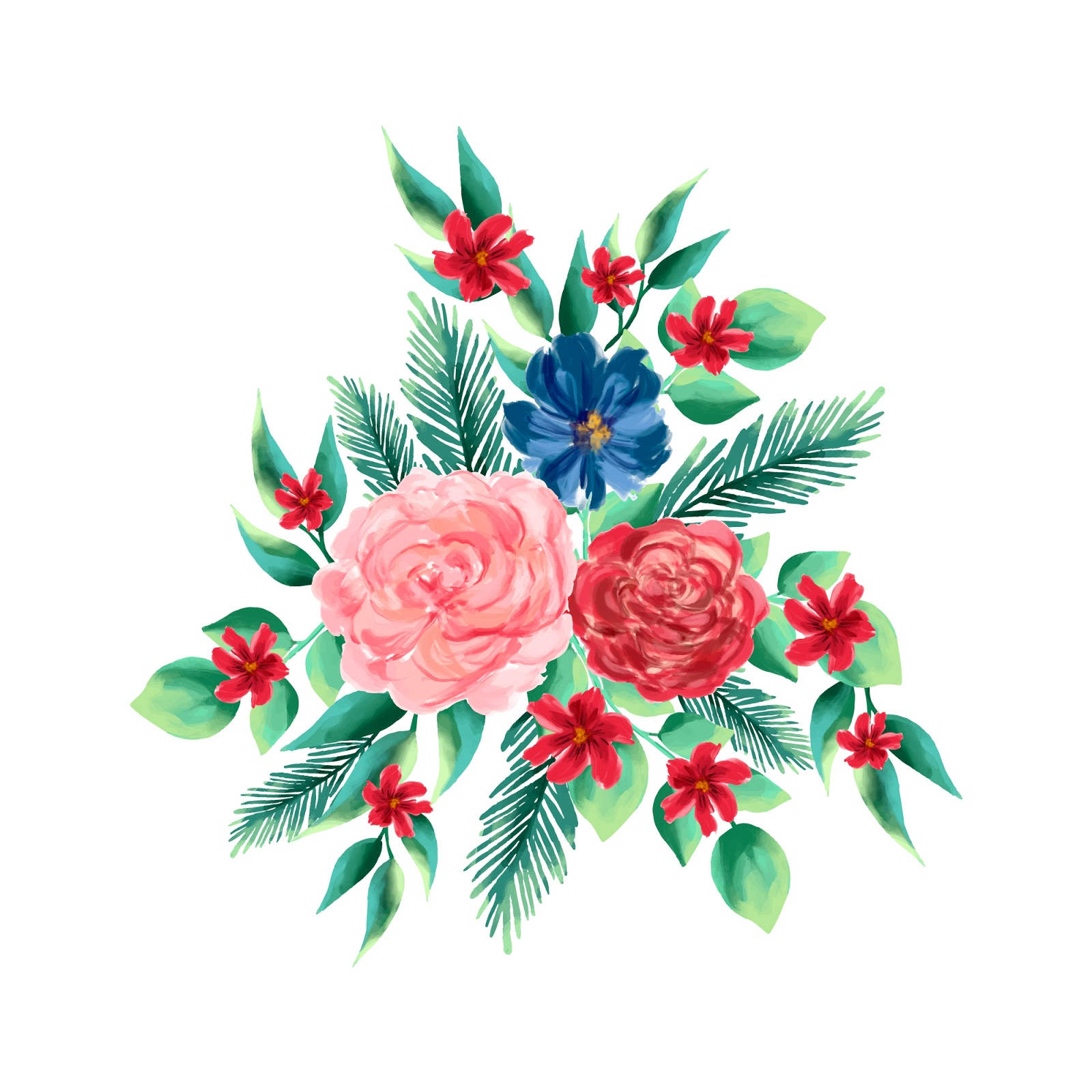 Colorful 2d Floral Bouquet Free Download Vector CDR, AI, EPS and PNG Formats