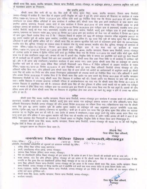 गोरखपुर- फर्जी डिग्री के सहारे नौकरी करने वाली शिक्षिका को बीएसए बीएन सिंह ने किया बर्खास्त primary ka master fraud teacher fired