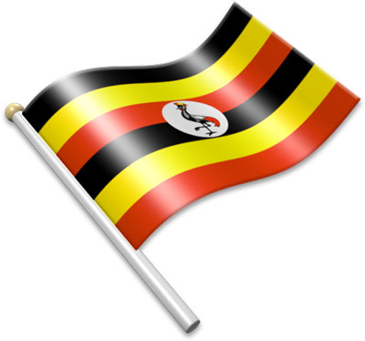 The Ugandan flag on a flagpole clipart image