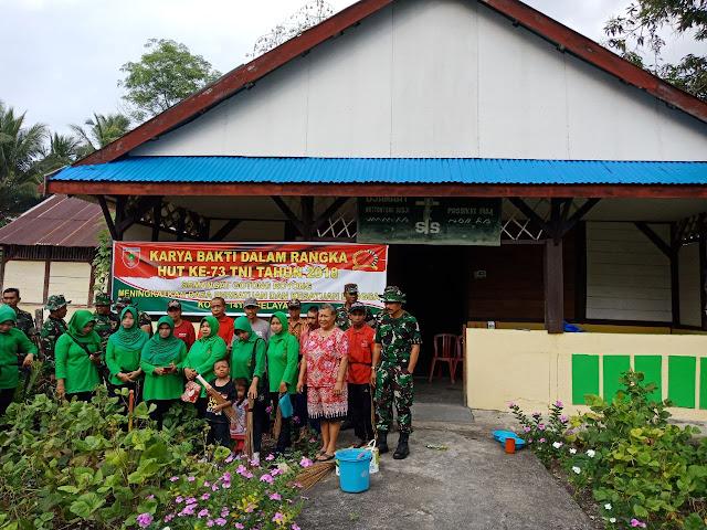 GIAT KARYA BHAKTI PEMBERSIHAN AREAL TANAMAN PELANGI DALAM RANGKA MEMPERINGATI HUT TNI KE - 73 TA. 2018
