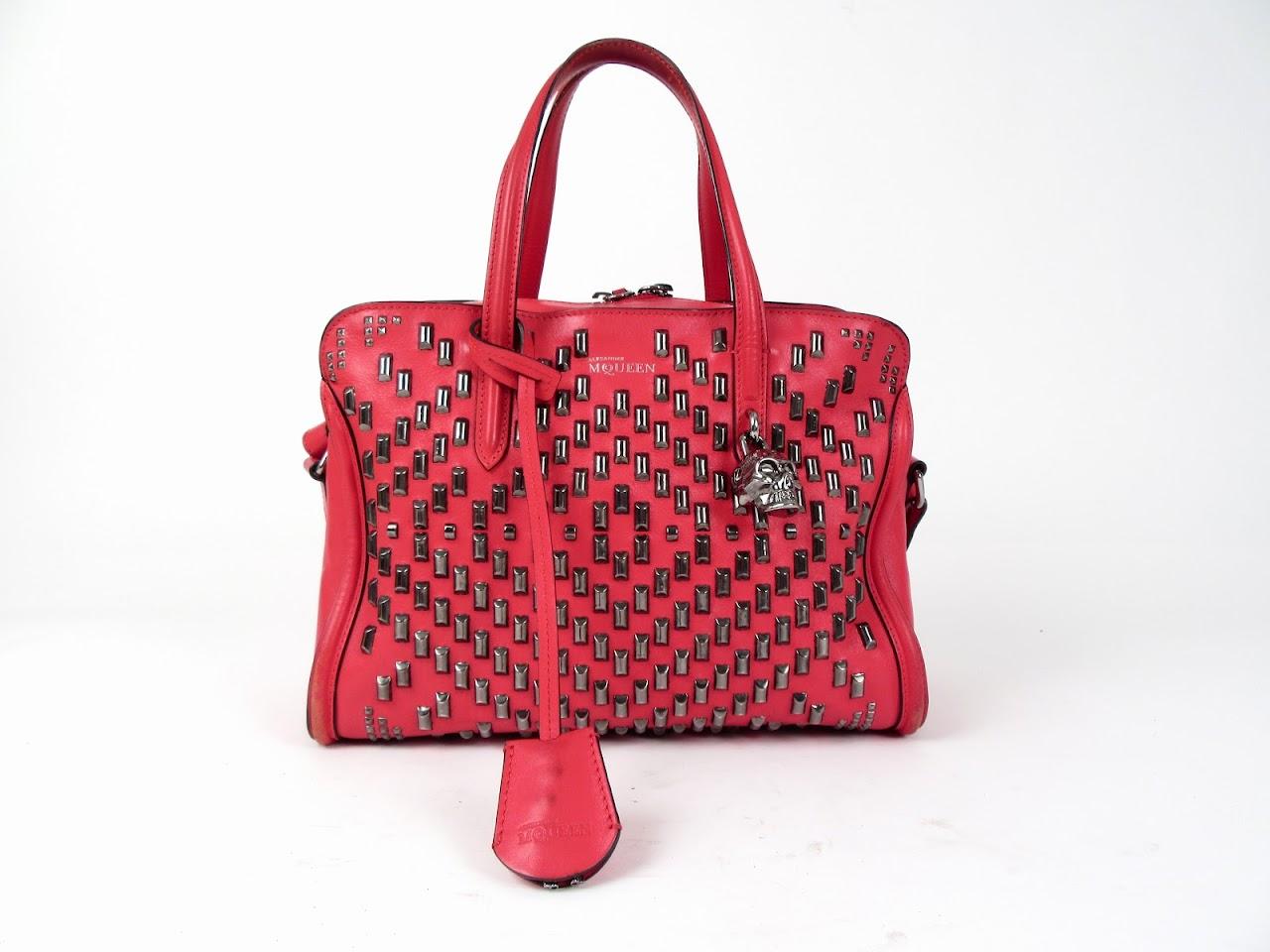 Alexander McQueen Studded Padlock Zip-Around Satchel Bag
