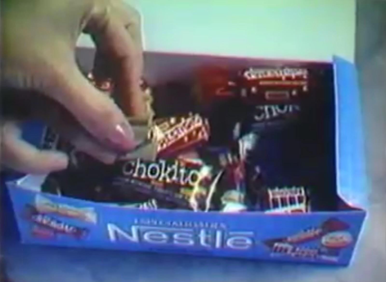 Campanha de lançamento da caixa de bombons com Especialidades da Nestlé em 1988