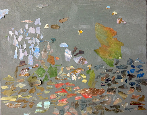 This Painting is Dead 2015 Oil and oil painting fragments on linen. Artist Fiona Long