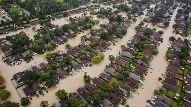 Aerial view of residential neighborhoods in Houston sitting in Hurricane Harvey floodwater after water from the Addicks Reservoir was released. Photo: Marcus Yam / Los Angeles Times