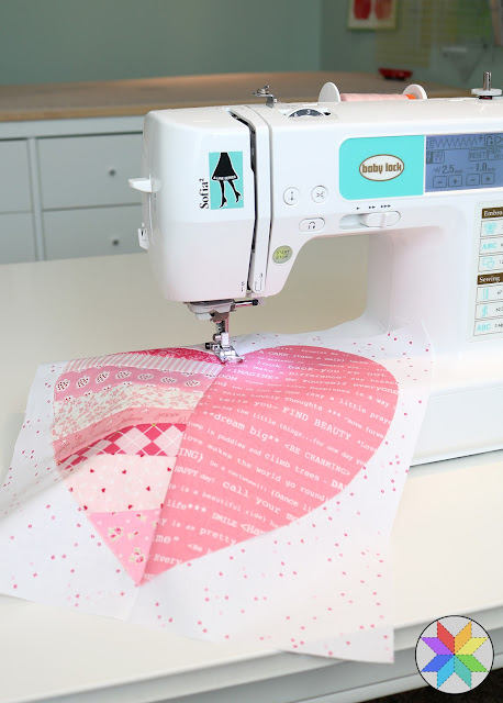 Heartstrings quilt block tutorial by Andy of A Bright Corner - applique quilt block done on a Baby Lock machine