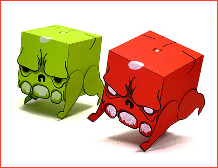 Super Crate Box Paper Toy - Skull Heads