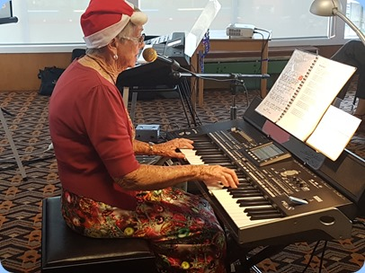 Jeanette Harding playing her Korg Pa3X