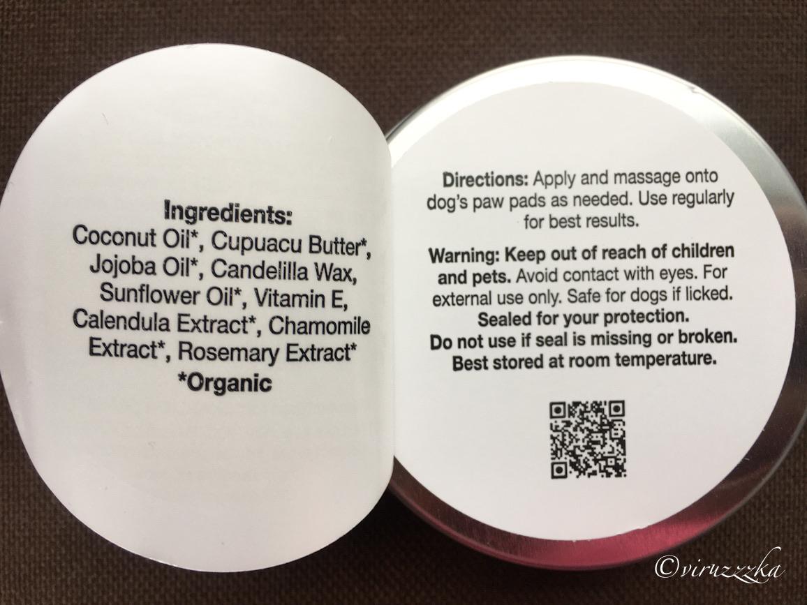 Charlie & Frank Dog Paw Balm iHerb Review Ingredients