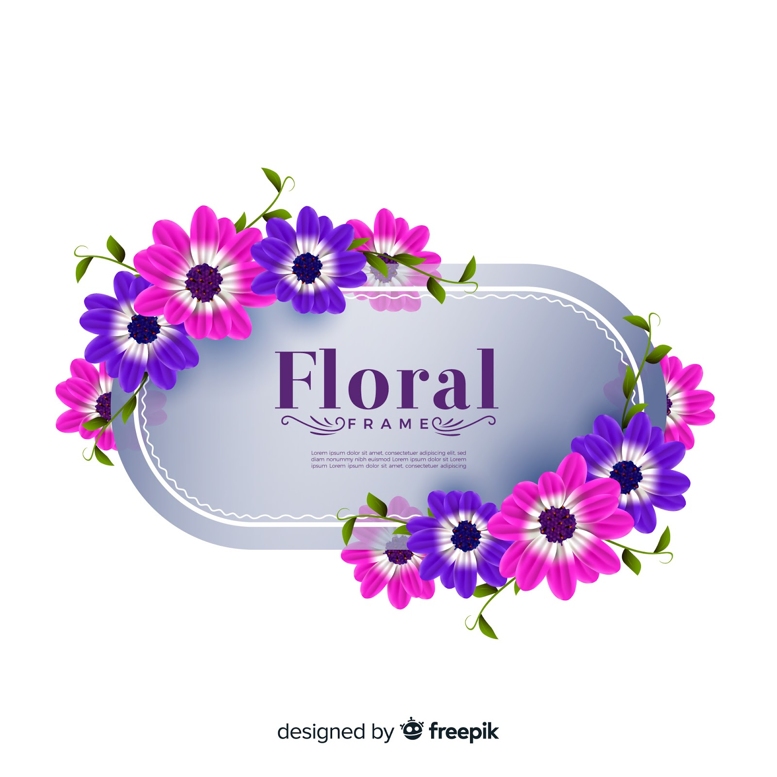 Lovely Floral Frame With Realistic Design Free Download Vector CDR, AI, EPS and PNG Formats