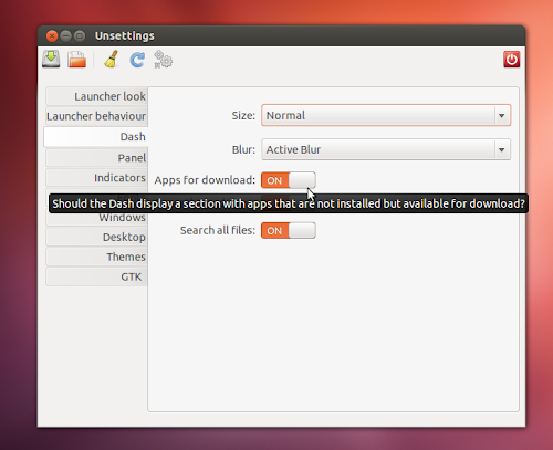 Unsettings 0.07 su Ubuntu 12.04
