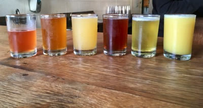 A flight of six beers