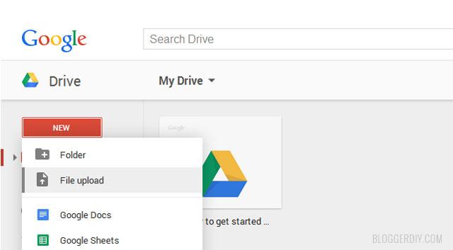 Google drive file upload button