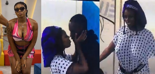 #BBNaija2021: Moment Angel and Saga were caught in a mind-blowing romantic k!ss (Video)