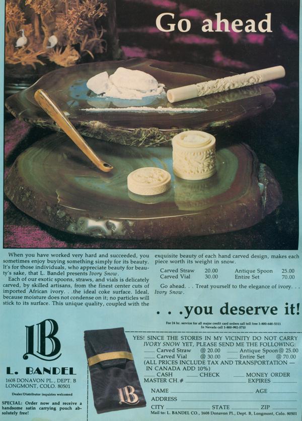Anúncio vintage de um kit para cheirar cocaína.