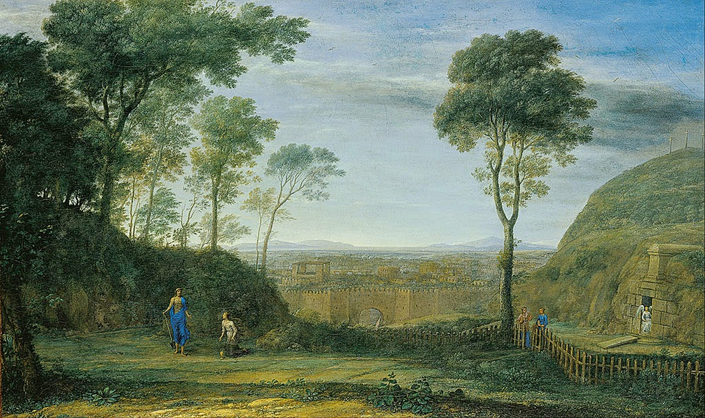 "Claude Lorrain - Landscape with Christ appearing to St. Mary Magdalene (""Noli me tangere"") - Google Art Project"