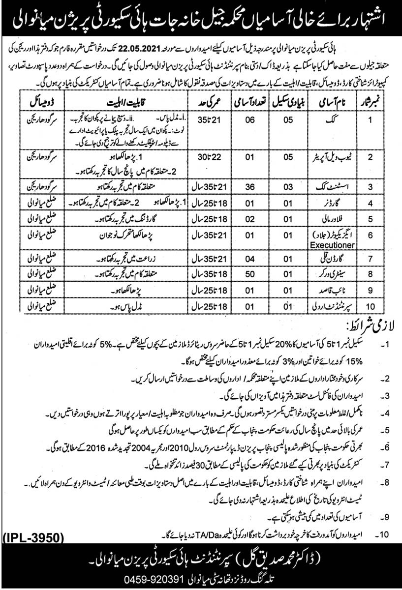 New Jobs in Security Prison Jail Department Mianwali 2021 Age (18-35) - Pakistan Security Prison Jobs by www.newjobs.pk