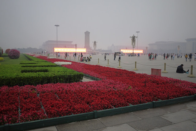 red flowers at Tiananmen Square